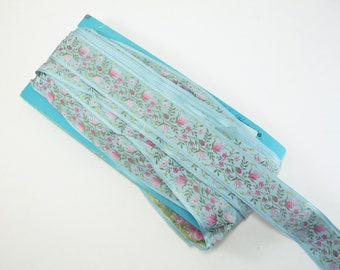 "1.5"" Vintage BLUE FRENCH JACQUARD Woven Floral Ribbon Trim Pink Blue Yellow Green Wedding Antique Supply 1 Yard"
