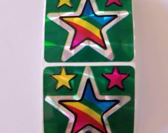 Vtg 80's stickers Stars Prism Rainbow vintage