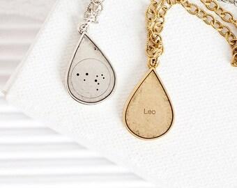 Leo Star Sign Necklace, Teardrop Pendant Necklace, Zodiac Leo Necklace, Leo Constellation Necklace, Leo Astrology Necklace-Leo Zodiac Gifts