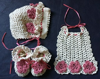 Ecru & Rose Pink Heirloom Newborn Keepsake Set - Bonnet, Bib and Booties