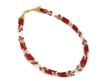 Red statement necklace, seed bead necklace, multi strand necklace, christmas gift idea, gifts for her, gifts under 30