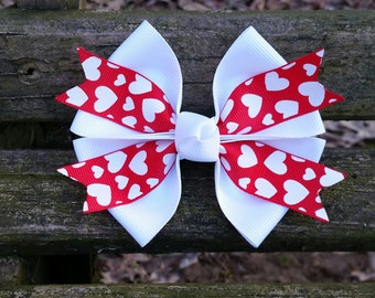 Valentines Day Hair Bow (white with red/white hearts) 4 inch