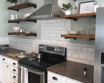 Marvelous Open Kitchen Shelves, Industrial Pipe Shelving, Farmhouse Open Shelving,  Laundry Room Shelves,