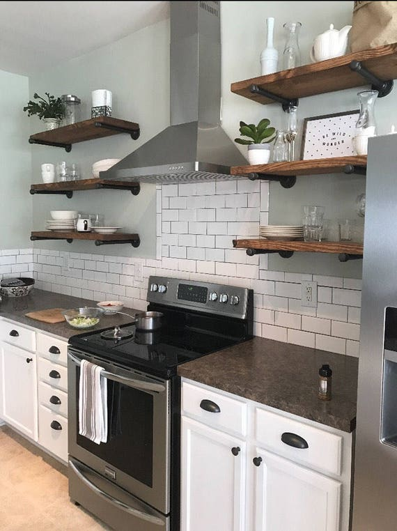 The Benefits Of Open Shelving In The Kitchen: Open Kitchen Shelves Industrial Pipe Shelving Farmhouse Open