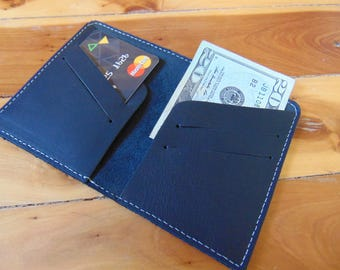 Black Leather Minimalist Slim Wallet Credit Card Holder, Leather Wallet for Men, Women Travel Wallet