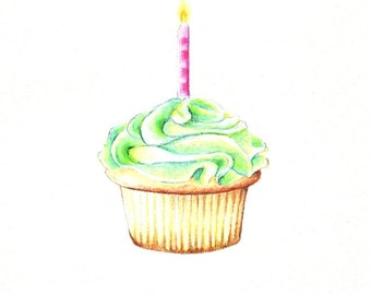 "Cupcake Print: digital print of an original drawing available 5x7"" or 8x10"""