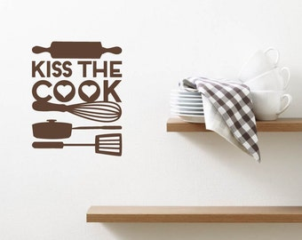 Kiss The Cook Quote Lettering Kitchen Love Relationship Vinyl Wall Decal Sticker Art Mural