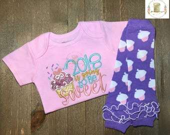 "Embroidered New Years Girl Outfit // ""2018 is Going to be Sweet"" Pink Onesie®, and Leg Warmers // Embroidered // Pink Onesie"