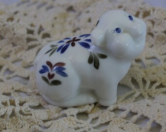 Vintage milk glass pig.hand painted and signed
