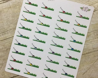 Cut Grass with Lawnmower Stickers
