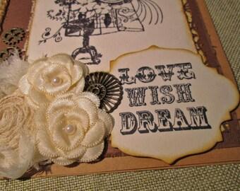 Steampunk Dress form Love Wish Dream Card - Handmade