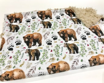 Mama Bear and Cub Woodland Baby Boy Blanket - Minky Baby Blanket, Forests Woodland Baby Blanket, Ready to Ship Baby Blanket, Baby Gift
