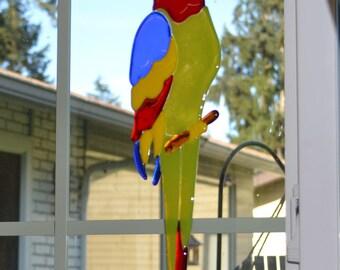 Fused Glass Parrot Suncatcher, Tropical Decor, Glass Parrot, Window Decor, Tropical Garden
