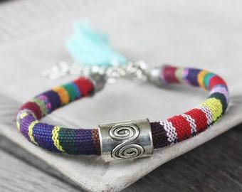 Tribal Boho Round Woven Cotton Cord Bracelet - Tassel bracelet, adjustable bracelet, tribal bracelet, boho bracelet, bohemian bracelet