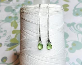 Sterling Silver - Peridot Line Earrings / sterling silver earrings / peridot earrings / minimalist earrings / peridot dangle earrings