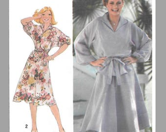 Simplicity 8513 Misses 70s Pullover Dress and Two-Piece Dress and Tie Belt Sewing Pattern Size 14-16 Bust 36-38