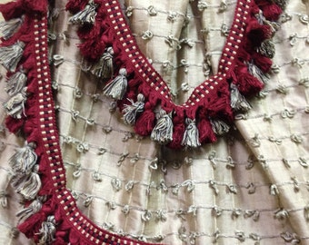 Tassel Trim Hand Tied Tassels - Designer Trim in Red and Grey tone - Pillow and Tote Trim - Vintage Christmas Projects - 1 Yard