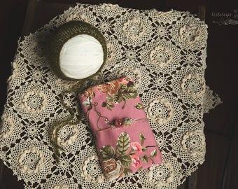 Newborn Wrap Tieback  & Bonnet Set * Mauve Floral * Photo Prop * Matching Newborn Set