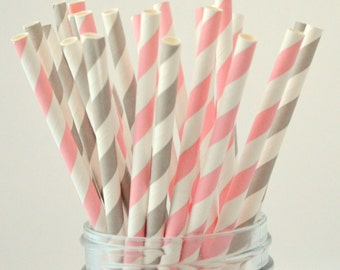 Light Pink and Gray Paper Straws, 50 Striped Paper Straws, Pink and Gray, Cake Pops, Pink Weddings, Pink Baby Shower,