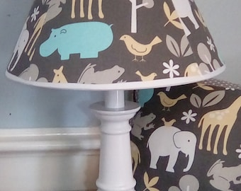 Giraffe hippo elephant set: lamp/blanket/pillow, nursery/baby lamp,pillow,blanket, zoo nursery, giraffe, elephant, hippo baby boy nursery
