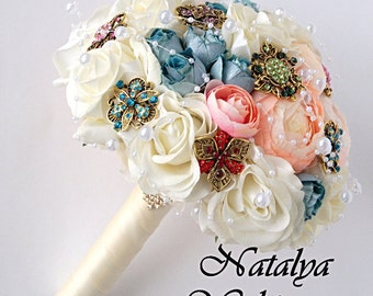 FULL PRICE, Brooch Bouquet, Vintage Brooch Bouquet, Bridal Bouquet, Wedding Bouquet, Fabric Bouquet, Unique Bouquet, Ivory, Pink, Blue
