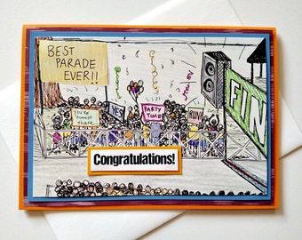 Running Congratulations Handmade Greeting Card - Best Parade Ever - Congrats Card for 26.2 Marathon, 13.1 Half-marathon, Runners, Walkers