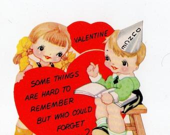 Vintage Dunce Children Valentine |  Greeting Card | Valentine's Day, Valentines, Heart, School, Schoolchildren, Class, Kids | Paper Ephemera