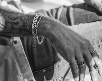 PULSERA de plata muñequera para hombre o para mujer, pulsera regalo para él, pulsera regalo para ella, pulsera ajustable,pulsera minimalista