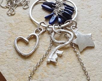 Statement Long Sterling Silver Charm  Pendant Necklace w. Lapis Lazuli