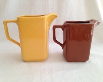 Vintage Australian Diana Pottery Pitchers Gold & Brown