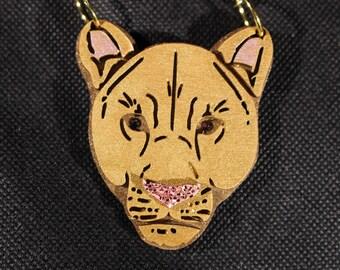 Lion/Leopard/panther necklace - laser cut wood pendent