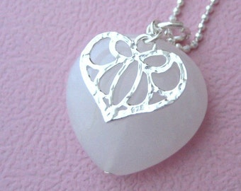 Shape of my heart - sterling silver necklace with jade and silver heart shaped beads