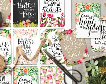 """Printable Bible Verse tags, collage sheet, Scripture art tags, 3.25"""" x 2.25"""" inspirational cards, stickers 7-11"""