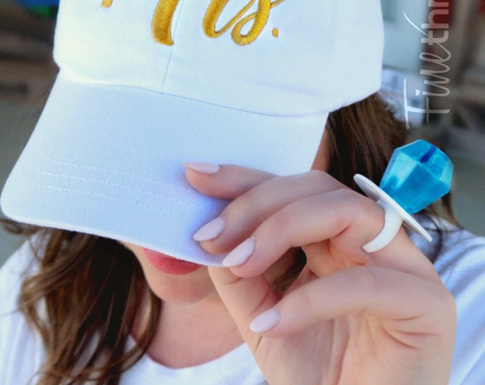 Featured listing image: LADIES Mrs. Bride Wedding with Side Monogram Baseball Cap Hat LEATHER strap Pigment Dyed Bachelorette Party Just Married Honeymoon