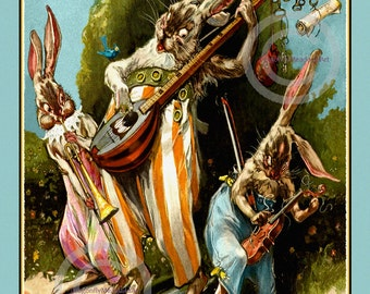 Whimsical Rabbits Print, Playing Instruments, Jamboree Band, Mandolin, Jazz Music, Wall Decor, 1920s, Giclee Art Print, 11x14, 16x20.