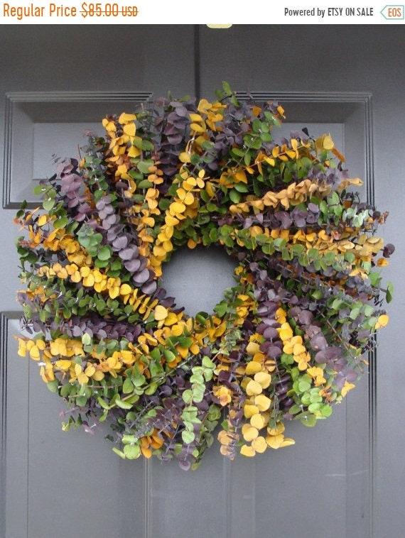 SUMMER WREATH SALE Spring Wreath- Mardi Gras Wreath- Spring Decor- Year Round Wreath- Eucalyptus Wreath-Dried Floral
