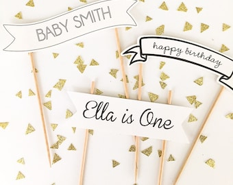 Simple black and white scroll banner cake toppers