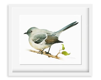 Mockingbird Painting - Watercolor Mockingbird - 8 by 10 print - Watercolor Painting, Archival Print, Home Decor, Nature Art