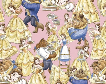 Beauty and the Beast Fabric, Walt Disney Fabrics, Packed Characters, Belle on Pink, Quilting Cotton, 100% Cotton Remnant Bundle