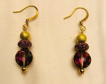 Classic Purple Glass Drop Earrings