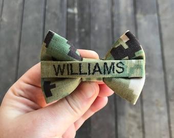 Military Mini Personalized Navy NWU Type 3 Nametape Bow | US Navy Baby | Navy Baby | USN Baby | Military Baby | Military Baby Bow | Navy Bow