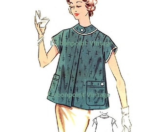 Plus Size (or any size) Vintage 1950s Maternity Smock Pattern - PDF - Pattern No 122 Annette   50s  Fashion Sewing Instant Download