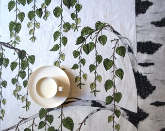 Linen tablecloth ivory white green birch tree Eco Friendly , runner , tea towel , pillow cover , curtains available , eco GIFT