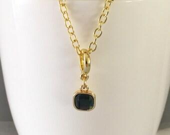 Dark grey necklace, dark grey pendant necklace, rhinestone necklace