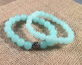 Teal Glass Stretch Bead Bracelets