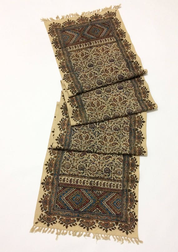 "Table runner 94"" inches long , traditional hand block printed table runner, wall decor, natural dyes with tassels"