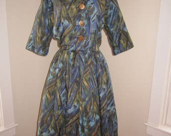 1950s SMARTEE TOGS Blue/Green Multi Color Abstract Print Cotton Mid Century Day Dress Size Medium/Large