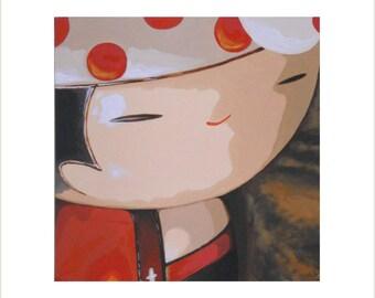 Wooden Kokeshi Doll Painting, Painted Kokeshi, Large Kokeshi Canvas, Oriental Doll Wall Art, Japanese Kokeshi, Collectible Kokeshi Painting