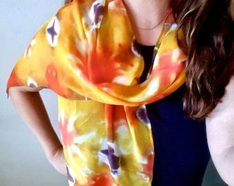 Yellow Orange and Black Tie Dye Chiffon Silk Scarf