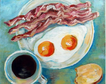 "Breakfast - Still life No.01-01  acrylic painting on STRETCHED CANVAS size 12"" by 12"" ready to hang"